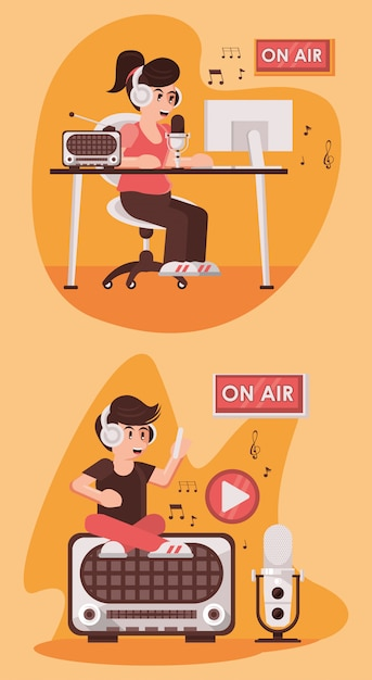 Internationale radiodag met omroeperspaar Premium Vector