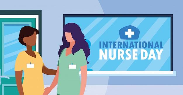 Internationale verpleegstersdag groep professionele vrouwen Premium Vector