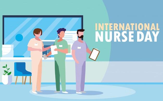 Internationale verpleegstersdag met een groep professionals Premium Vector