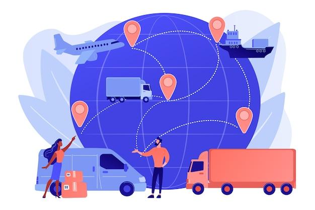 Internationale verzending van goederen via internetwinkel Gratis Vector