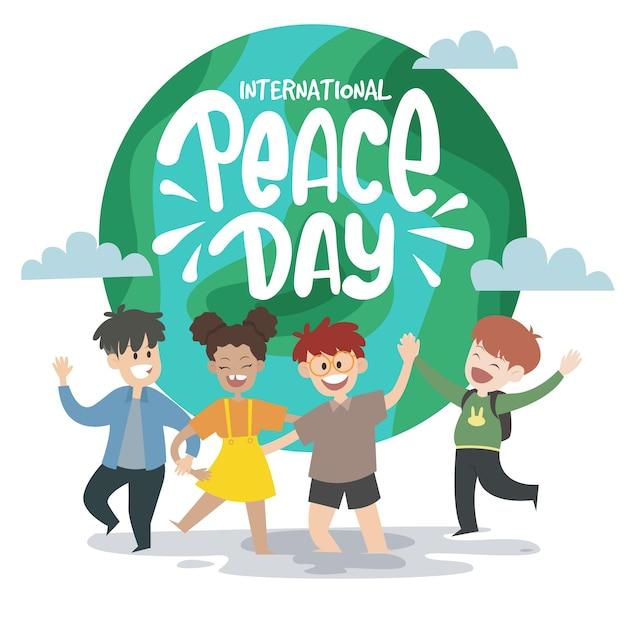 Internationale vredesdag met kinderen Gratis Vector