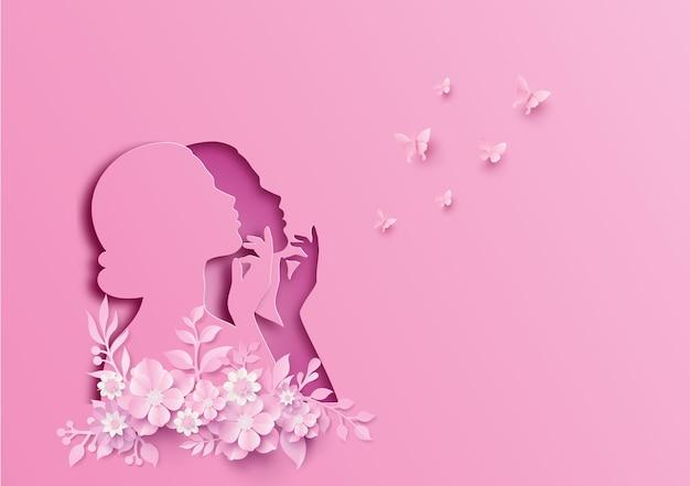 Internationale vrouwendag 8 maart met frame van bloemen en bladeren, papierkunststijl. Premium Vector