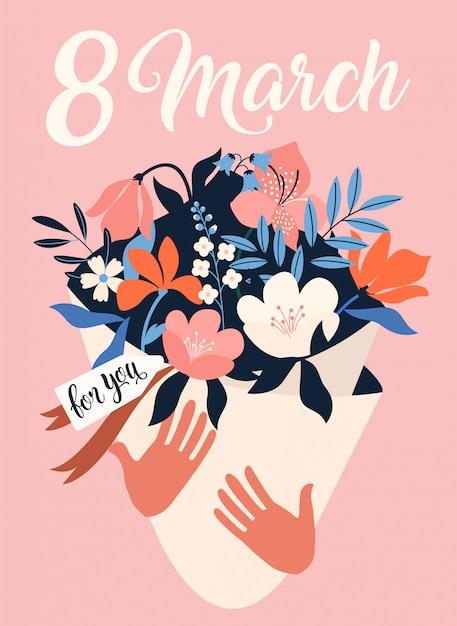 Internationale vrouwendag. 8 maart. Premium Vector