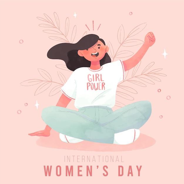 Internationale vrouwendag achtergrond Gratis Vector
