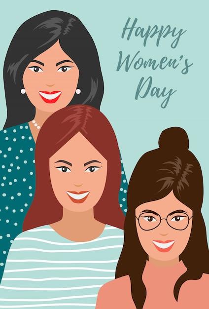 Internationale vrouwendag. illustratie van glimlachende vrouwen. Premium Vector
