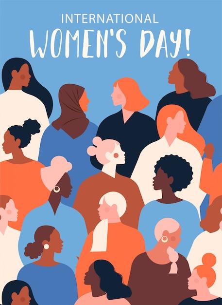 Internationale womens day groeten Premium Vector