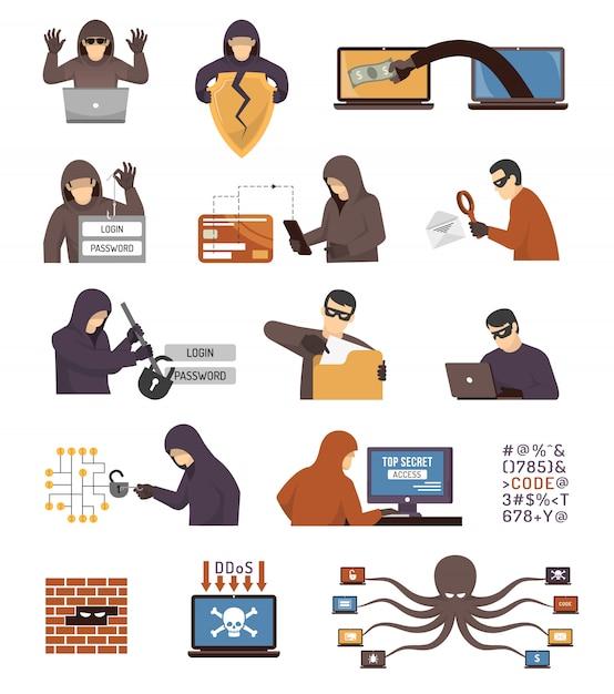 Internet beveiliging hackers plat pictogrammen instellen Gratis Vector