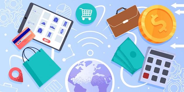 Internet commerce, online winkelen vector concept Premium Vector