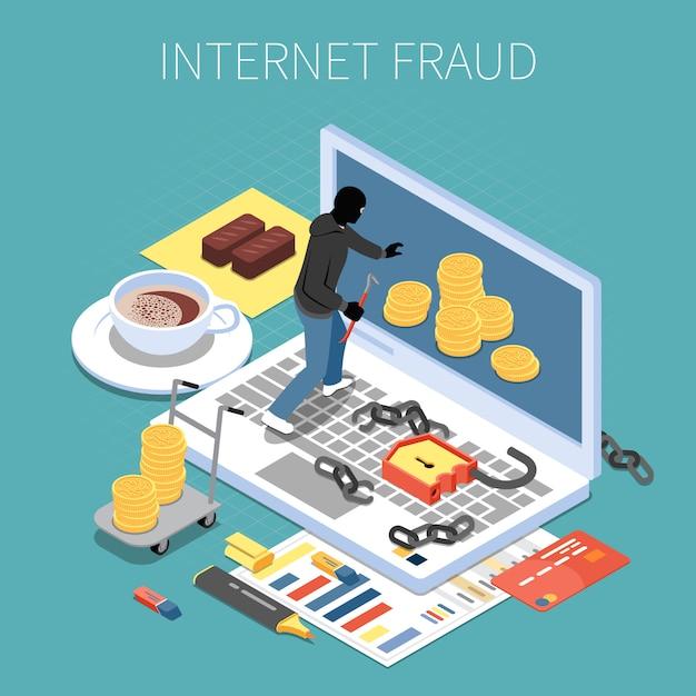 Internet fraude isometrische samenstelling hacker met geld tijdens aanval op computer vectorillustratie Gratis Vector