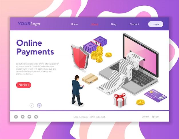 Internet-het winkelen en online betalingsconcept Premium Vector