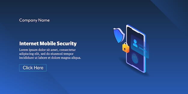 Internet mobiele veiligheidsconcept Premium Vector