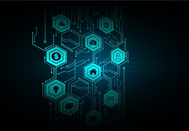 Internet of things circuit cyber-technologie Premium Vector