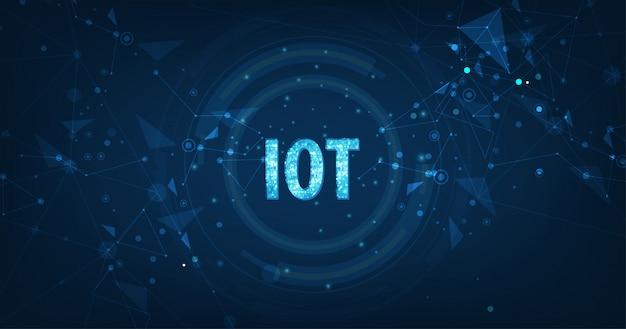 Internet of things (iot) concept. big data cloud computing-netwerk van fysieke apparaten met beveiligde netwerkconnectiviteit op donkerblauw Premium Vector