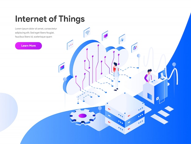 Internet of things isometrische webbanner Premium Vector