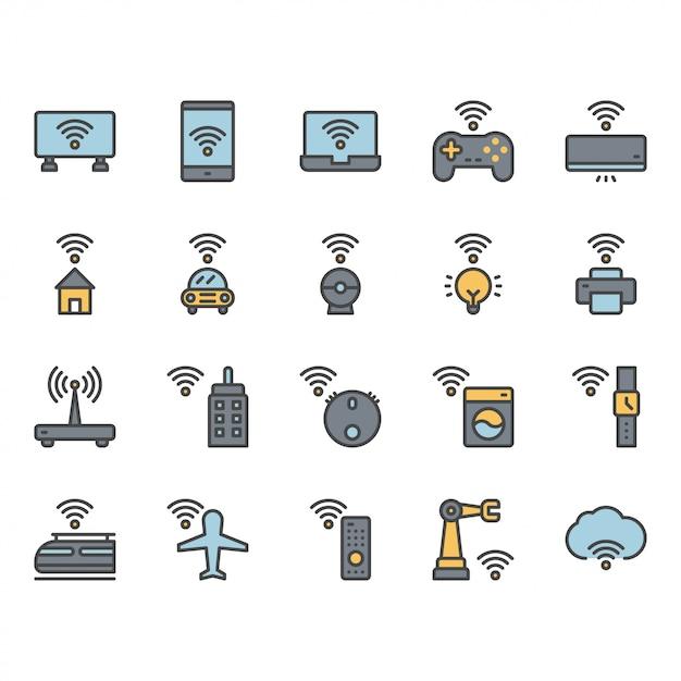 Internet van dingen gerelateerde pictogram en symboolset Premium Vector
