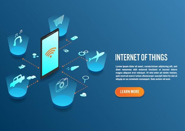 Internet van dingen in isometrisch ontwerp Premium Vector
