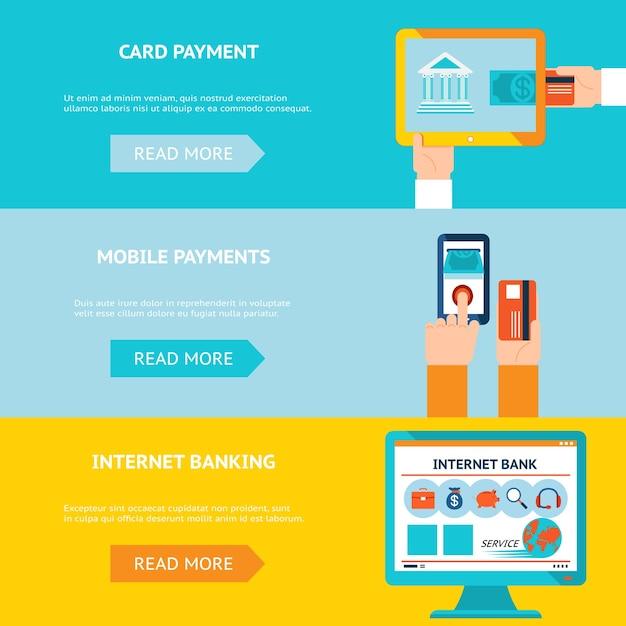 Internetbankieren, kaart- en mobiele betalingen. contactloze internettransactie. Gratis Vector