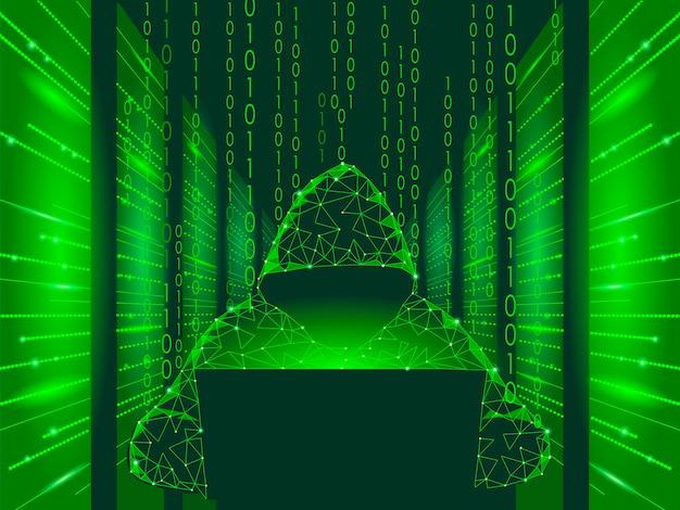 Internetbeveiliging cyberaanval bedrijfsconcept laag poly, anonieme hacker Premium Vector