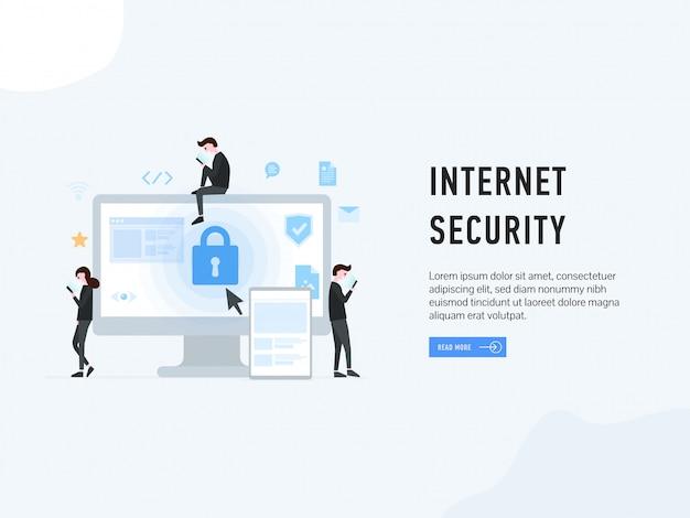 Internetbeveiligings-bestemmingswebpagina Premium Vector
