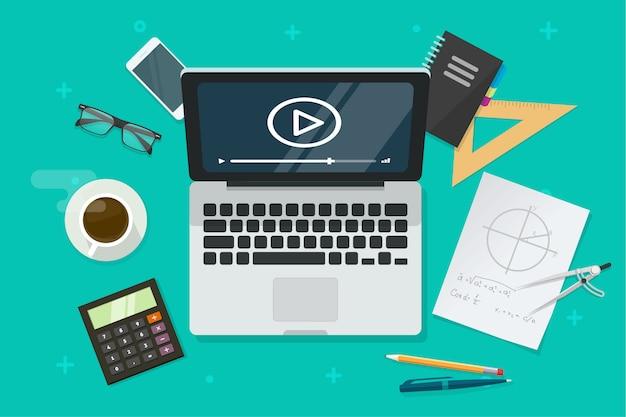 Internetonderwijs online via laptop of het bestuderen van lesillustratie in vlakke beeldverhaalstijl Premium Vector