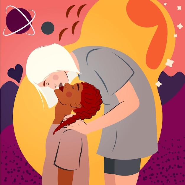 Interraciaal lesbisch koppel. portret van jonge vrouwen kussen. homoseksuele romantische partners. lgbt-gemeenschap en liefdeconcept. Premium Vector