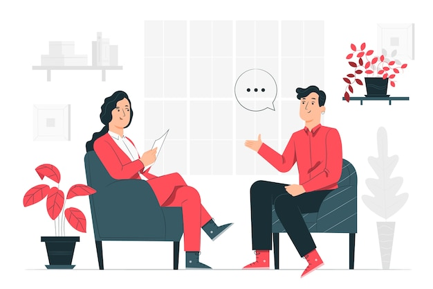 Interview concept illustratie Gratis Vector