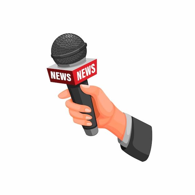 Interview met de journalist. hand met microfoon met nieuws symbool concept in cartoon afbeelding op witte achtergrond Premium Vector