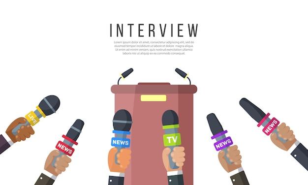 Interviews met journalisten van nieuwszenders en radiostations. microfoons in de handen van een verslaggever. persconferentie-idee, interviews, laatste nieuws. opname met een camera. vectorillustratie, eps-10 Premium Vector