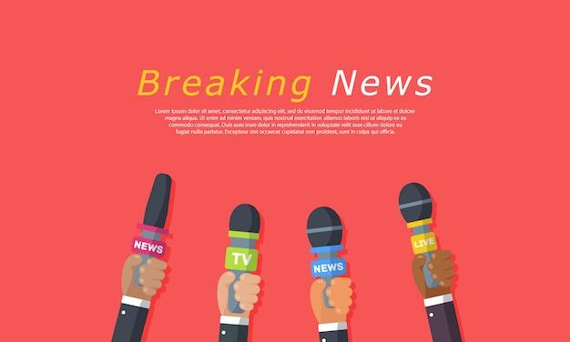 Interviews zijn journalisten van nieuwskanalen en radiostations. microfoons in handen van een verslaggever. persconferentie idee, interviews, laatste nieuws. opname met camera. illustratie, Premium Vector