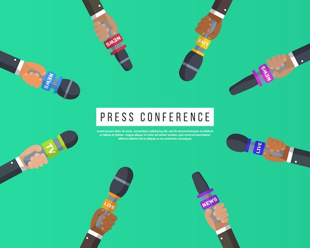 Interviews zijn journalisten van nieuwskanalen en radiostations. persconferentie idee, interviews, laatste nieuws. microfoons in handen van een verslaggever. opnemen met een camera. illustratie, Premium Vector