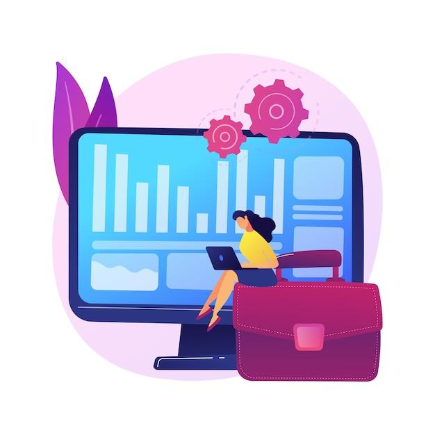 Inventarisatieproces. financiële operatie. belastingrapportage, managementsoftware, ondernemingsprogramma. vrouw doet boekhouding en auditing stripfiguur Gratis Vector