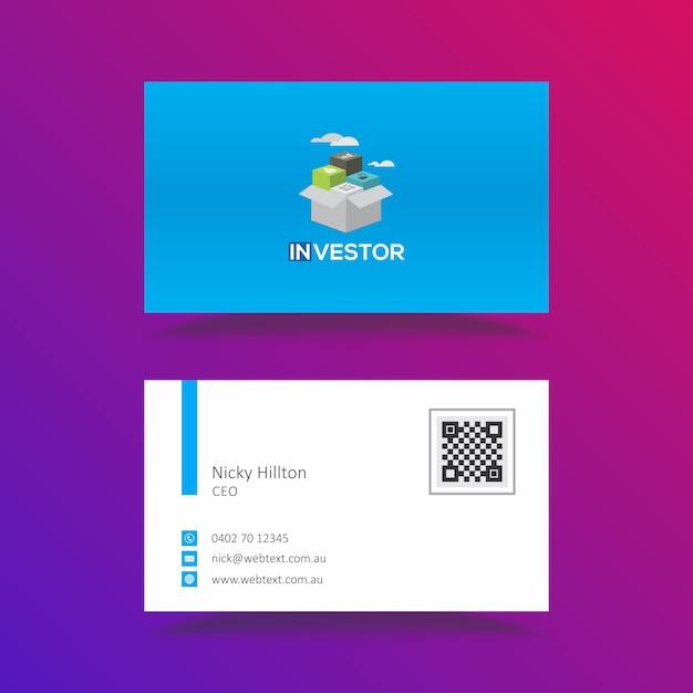 Investeerder mobiele app moderne blauwe visitekaartje sjabloon Premium Vector