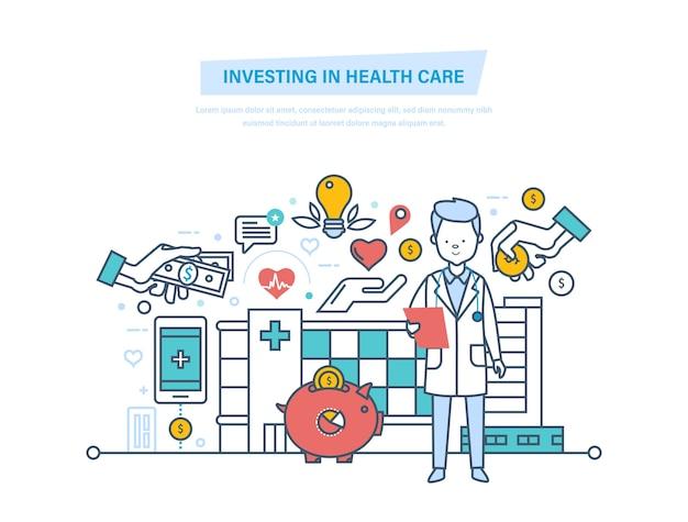 Investeren in gezondheidszorg en moderne geneeskunde dunne lijn. Premium Vector