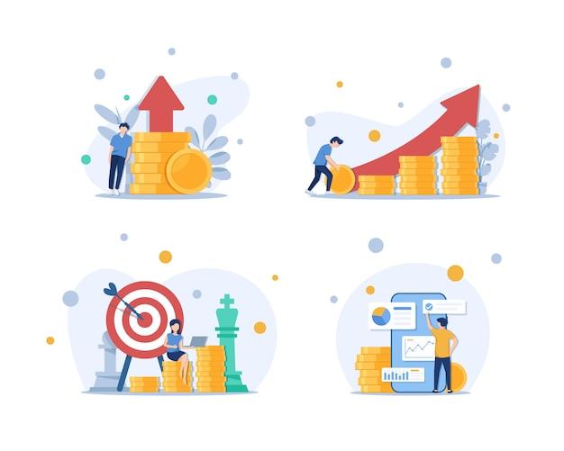 Investering en analyse geld cashwinsten metafoor, werknemer of manager die investeringsplannen maakt Premium Vector