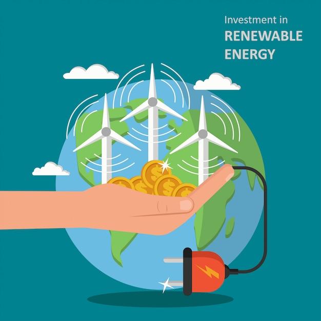 Investering in illustratie van hernieuwbare energie Premium Vector