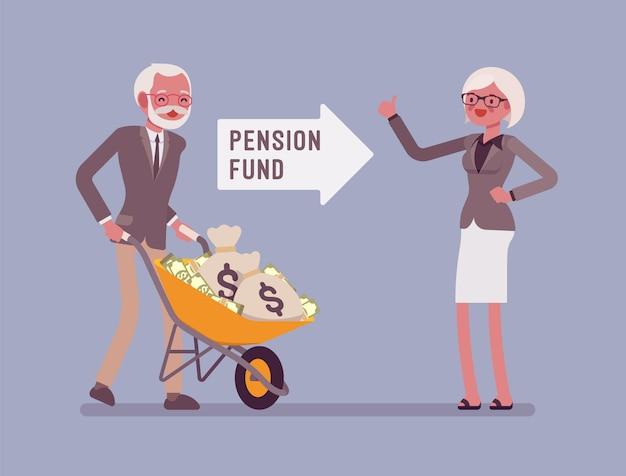 Investering in pensioenfondsen. oude man die geldkar duwt, financieel systeem voor senioren om hulp te krijgen van de overheid, gegarandeerde steun en sociale zekerheid. stijl cartoon illustratie Premium Vector