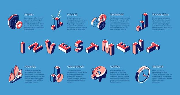 Investering isometrische banner, investeert fondsenservice Gratis Vector