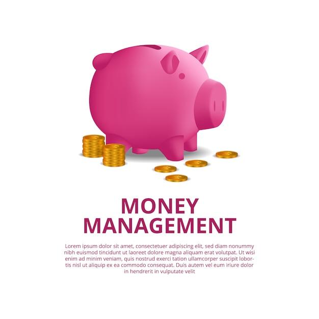 Investeringen die geldfinanciën begroten met illustratie van 3d roze spaarvarken Premium Vector