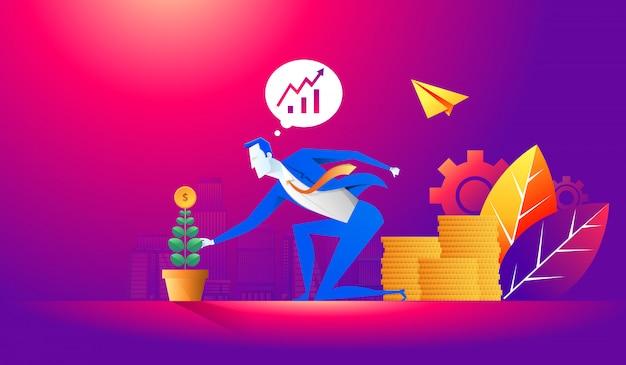 Investeringen en financiën groei bedrijfsconcept. zakenman een munt aanbrengend bloemen pot en het planten van groene geldboom. vlakke afbeelding Premium Vector