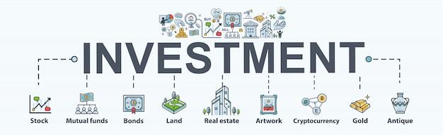 Investeringenbanner web pictogram voor bedrijven en financiën. Premium Vector