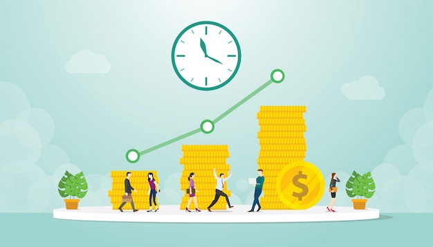 Investeringsbedrijf lange tijd met winst uit bedrijfswinst en stapel gouden munten met moderne vlakke stijl Premium Vector