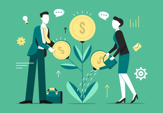Investeringsboom groei illustratie Gratis Vector
