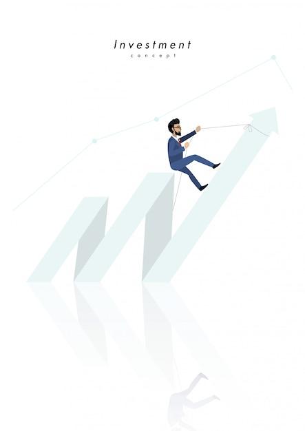 Investeringsconcept met zakenmanbeeldverhaal die tot bovenkant van de pijl beklimmen Premium Vector
