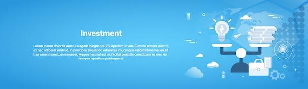 Investeringsgeld zaken horizontale webbanner Premium Vector