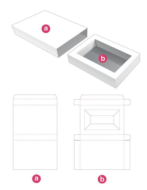 Invoegen rechthoekige doos met gestanste omslagsjabloon Premium Vector