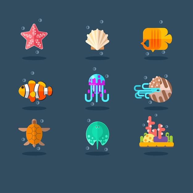 Inwoners van zee en oceaan. vlakke afbeelding instellen. Premium Vector