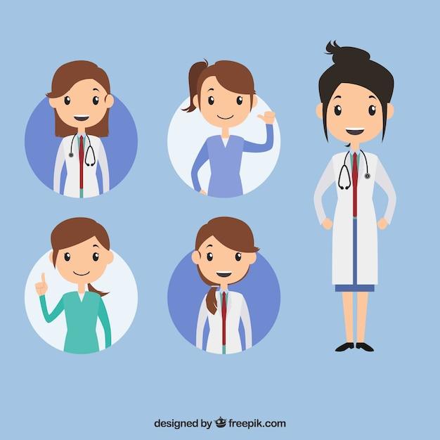 Inzameling met verscheidenheid van vrouwelijke prfessional artsen Gratis Vector