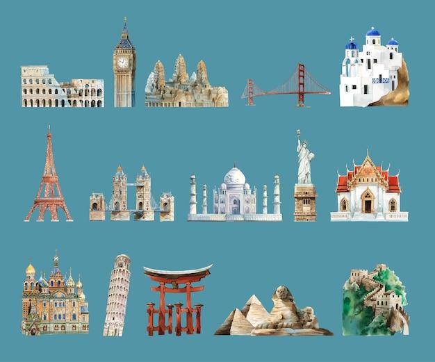 Inzameling van architecturale die oriëntatiepunten door waterverf worden geschilderd Gratis Vector