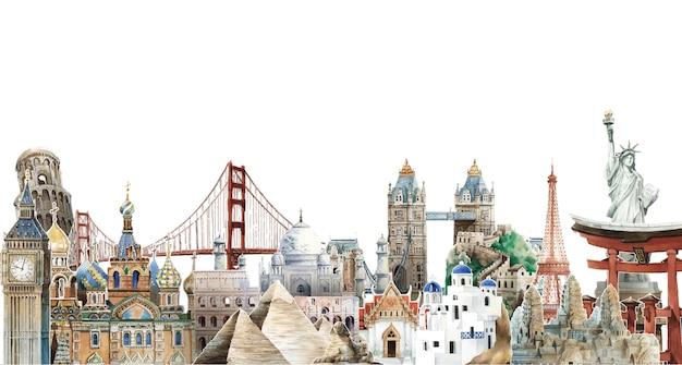 Inzameling van architecturale oriëntatiepunten rond de illustratie van de wereldwaterverf Gratis Vector