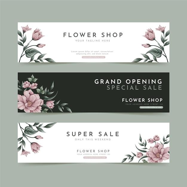 Inzameling van bloemenbanners voor bloemenwinkel Premium Vector